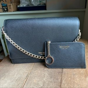 Black convertible crossbody bag with wallet set